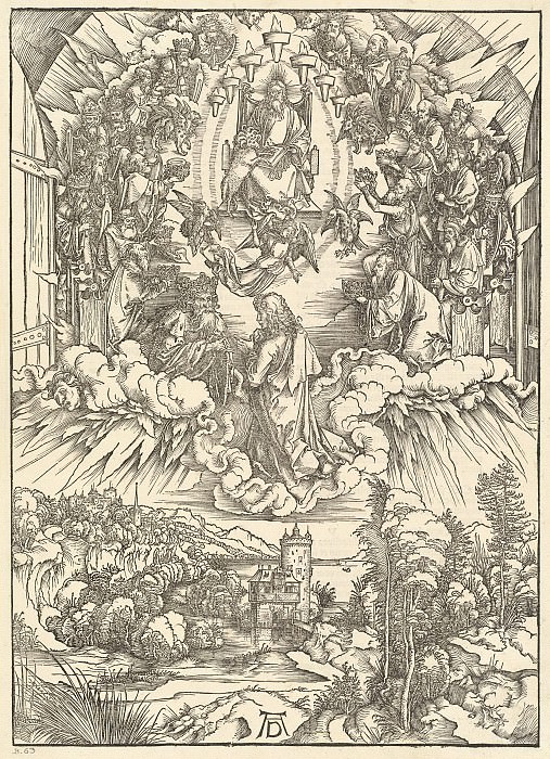 St. John before God and the twenty-four elders. Durer Engravings