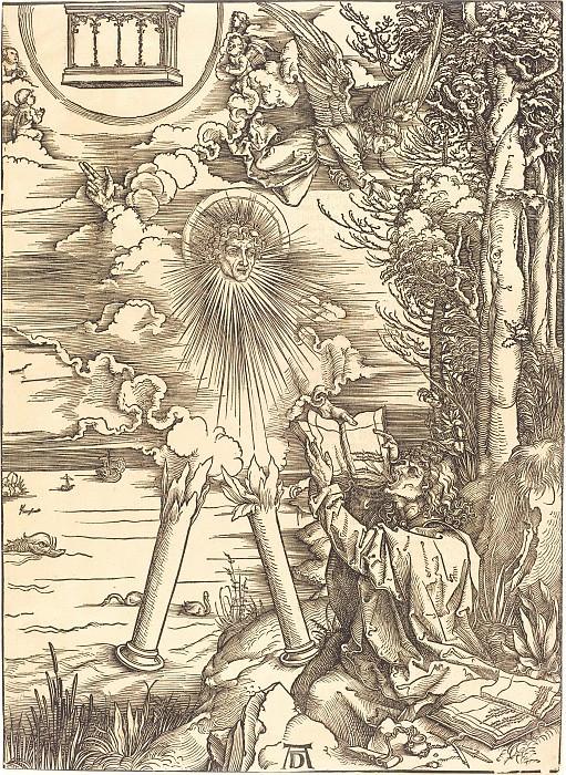 Saint John, absorbing the book of Revelation. Durer Engravings