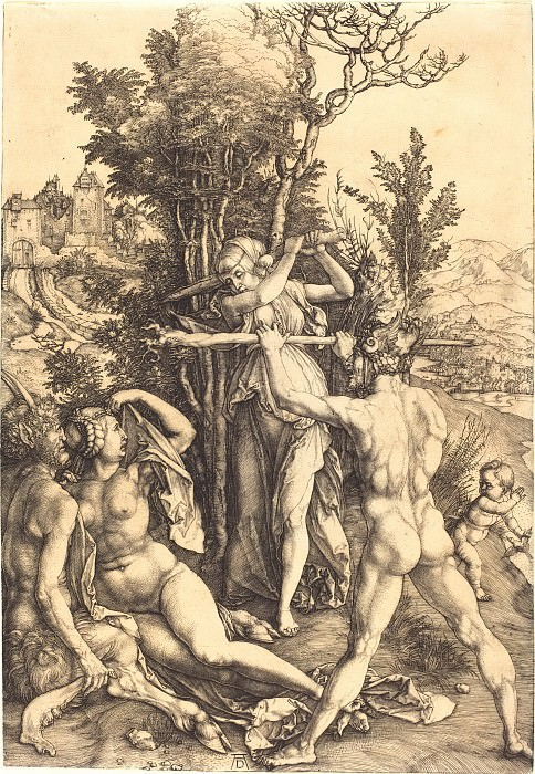 Hercules at the Crossroads (Orpheus and the Bacchantes). Durer Engravings