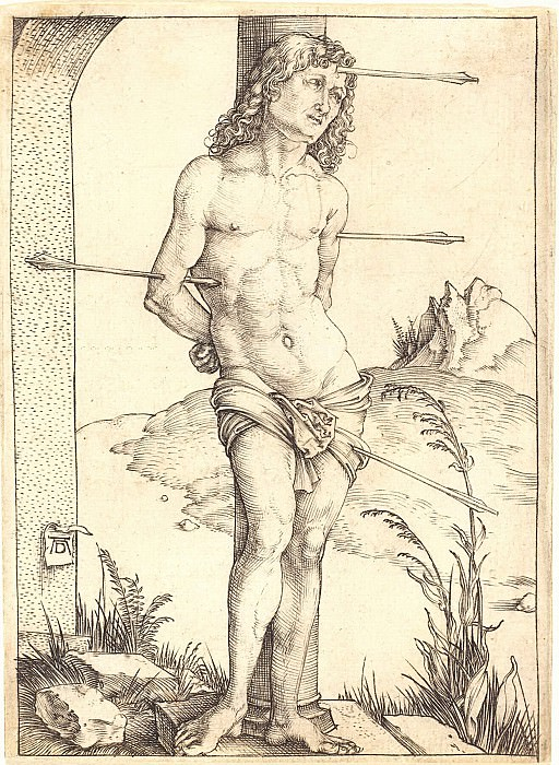 Saint Sebastian near the column. Durer Engravings