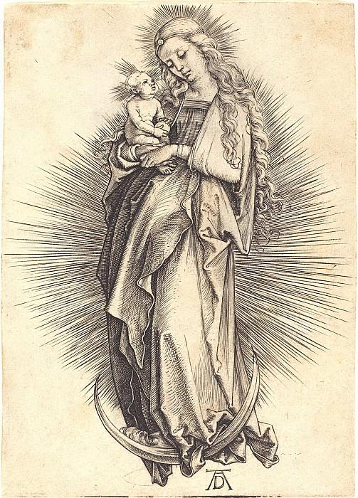 Madonna on the crescent. Durer Engravings