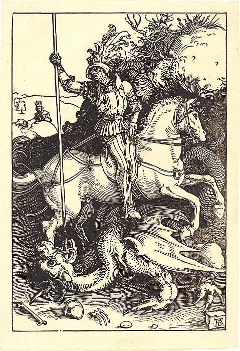 St. George, striking the dragon. Durer Engravings