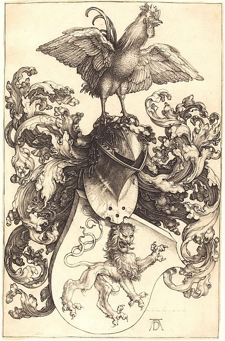 Coat of arms with a lion and a rooster. Durer Engravings