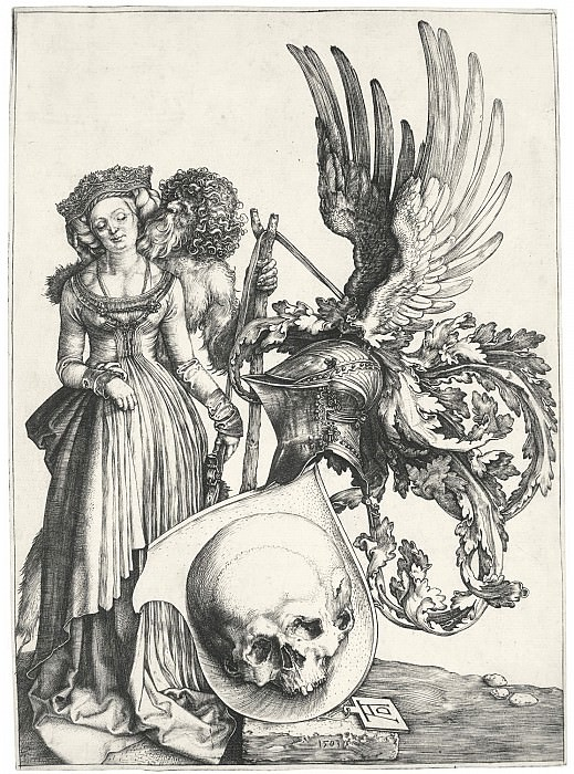 Shield with skull (Coat of Arms and the skull). Durer Engravings