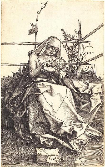 Madonna on a grassy bench. Durer Engravings