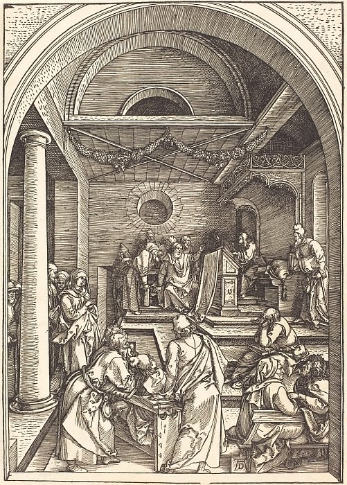 13-year-old Jesus among the scribes in the Temple. Durer Engravings