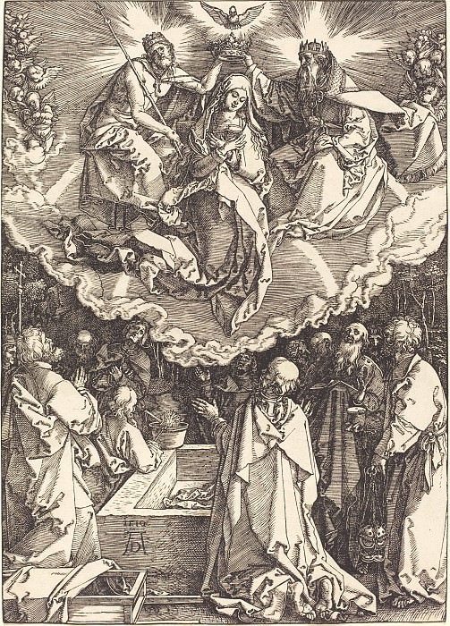 Ascension and Coronation of the Virgin. Durer Engravings