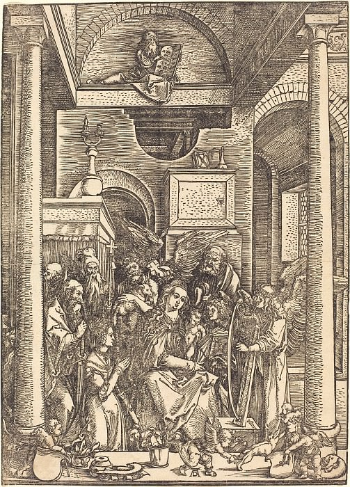 Adoration of the Blessed Virgin Mary with Child and Angels Apostles. Durer Engravings