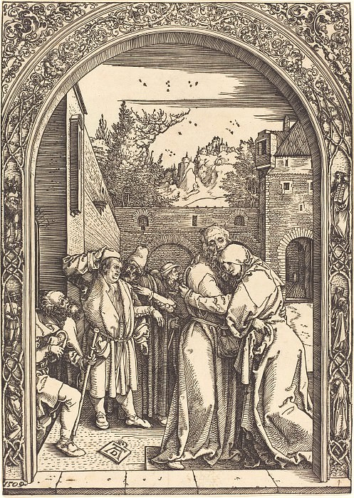 Joachim and Anne Meeting at the Golden Gate. Durer Engravings