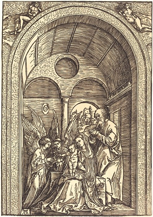 The Holy Family with two angels in the vaulted. Durer Engravings
