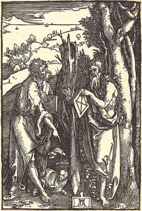 St. John the Baptist and St. Onufry. Durer Engravings