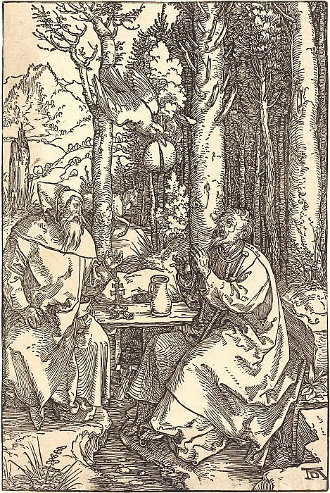 Saints Anthony and Paul the Hermit. Durer Engravings