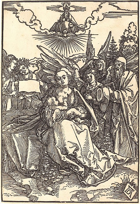 The Holy Family with three angels. Durer Engravings