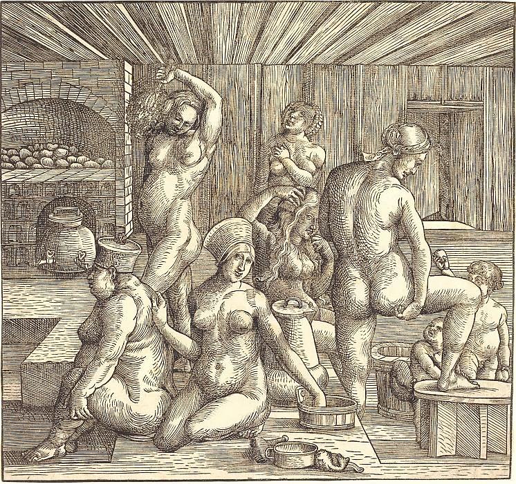 Женская баня. Гравюры Дюрера