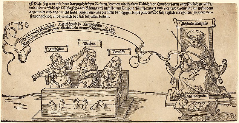 Justice, Truth and Reason in the Stocks with the Seated Judge and Sleeping Piety. Durer Engravings