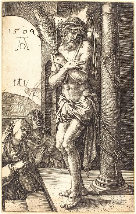 Suffering Christ at the Column. Durer Engravings