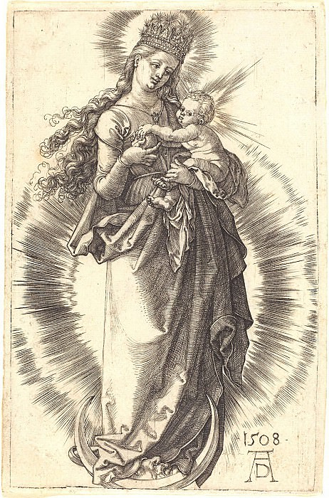 Madonna on the crescent moon in the crown of stars. Durer Engravings