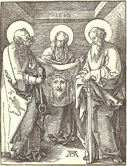 Holy Veronica between Sts Peter and Paul. Durer Engravings