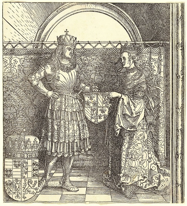 Maximilian engagement with Mary of Burgundy. Durer Engravings