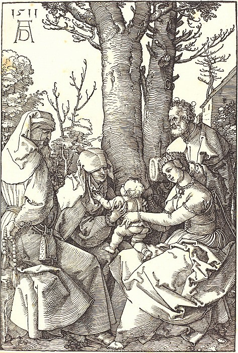 The Holy Family with Joachim and Anna under the tree. Durer Engravings