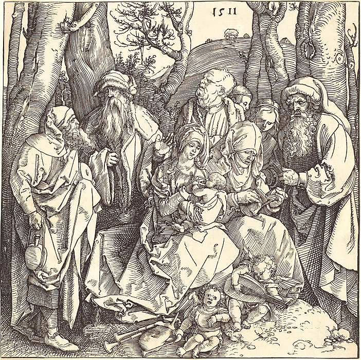 The Holy Family with St. Anne et al., With two angels playing music. Durer Engravings