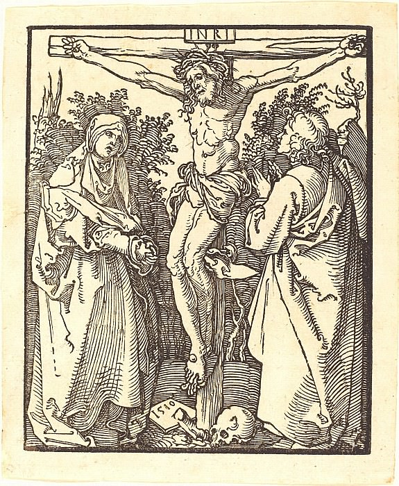 Christ on the Cross, with the Virgin Mary and John the Theologian. Durer Engravings