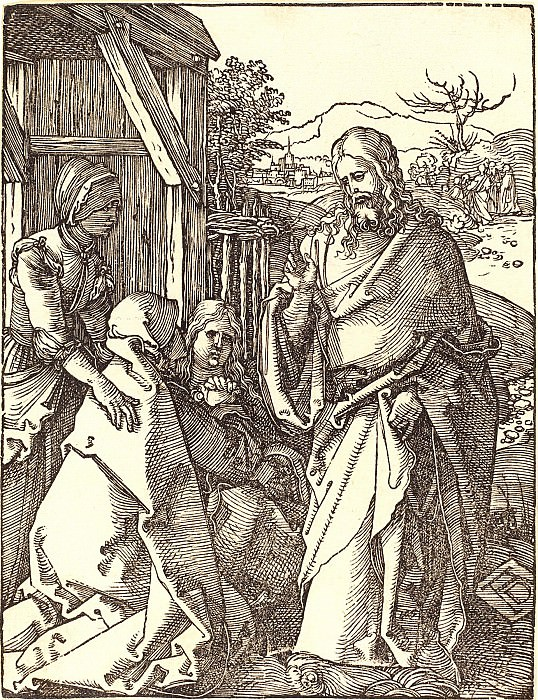 Christ bids farewell to his mother. Durer Engravings