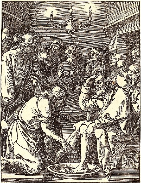 Christ washing the disciples' feet. Durer Engravings