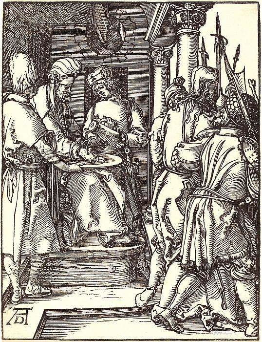 Пилат, умывающий свои руки. Гравюры Дюрера