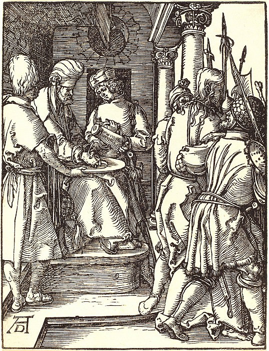 Pilate washing his hands. Durer Engravings