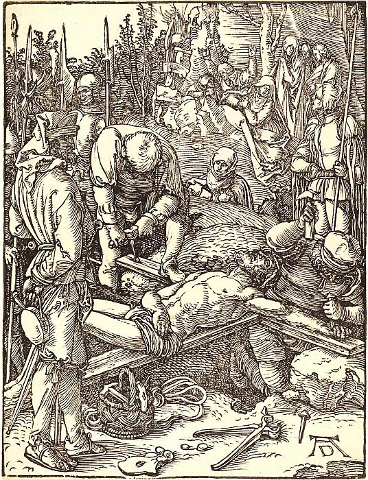 Nailing to the Cross. Durer Engravings