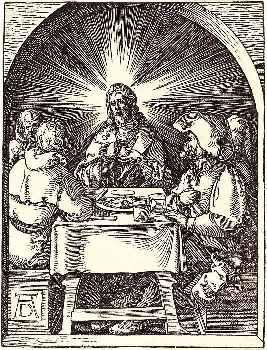 Supper at Emmaus. Durer Engravings