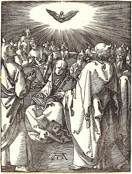 Pentecost (descent of the Holy Spirit). Durer Engravings