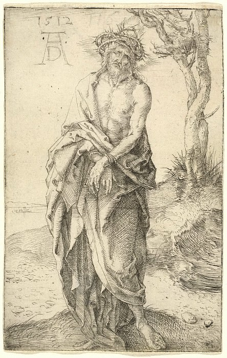 Suffering Christ with his hands tied. Durer Engravings