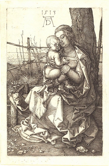 Madonna and Child under a tree. Durer Engravings