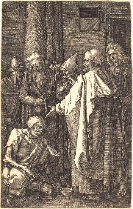 The apostles Peter and John healing a cripple. Durer Engravings