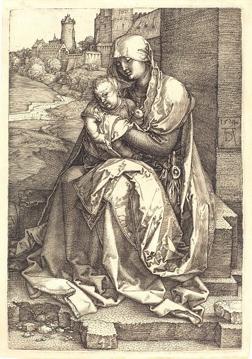 Madonna and Child with the wall. Durer Engravings