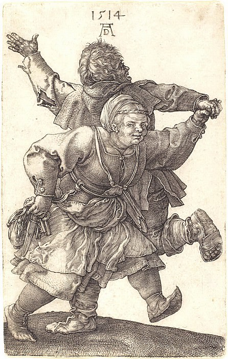 Two dancing peasant. Durer Engravings