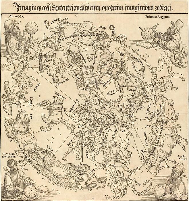 The Northern Celestial Hemisphere (The Northern Hemisphere of the Celestial Globe). Durer Engravings