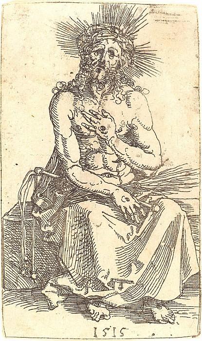 Sitting Christ-martyr. Durer Engravings
