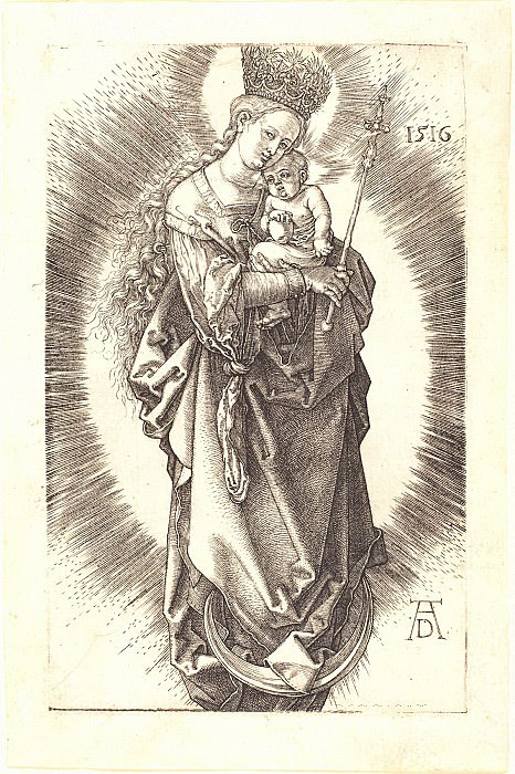 Madonna on the crescent moon in the crown of stars and scepter. Durer Engravings