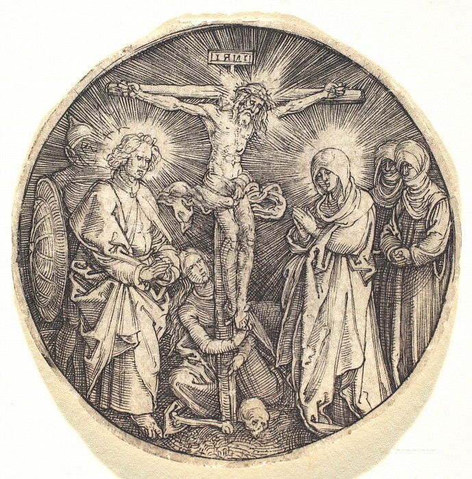 Crucifixion, called the Sword Pommel of Maximilian. Durer Engravings