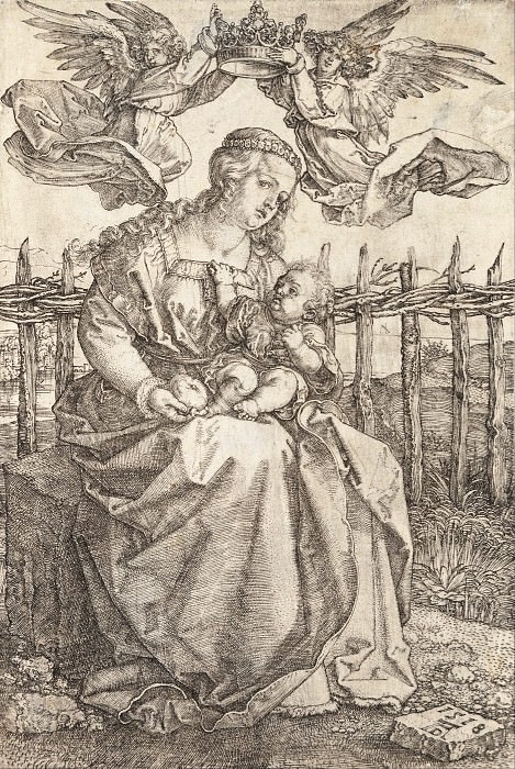Madonna, crowned by two angels. Durer Engravings