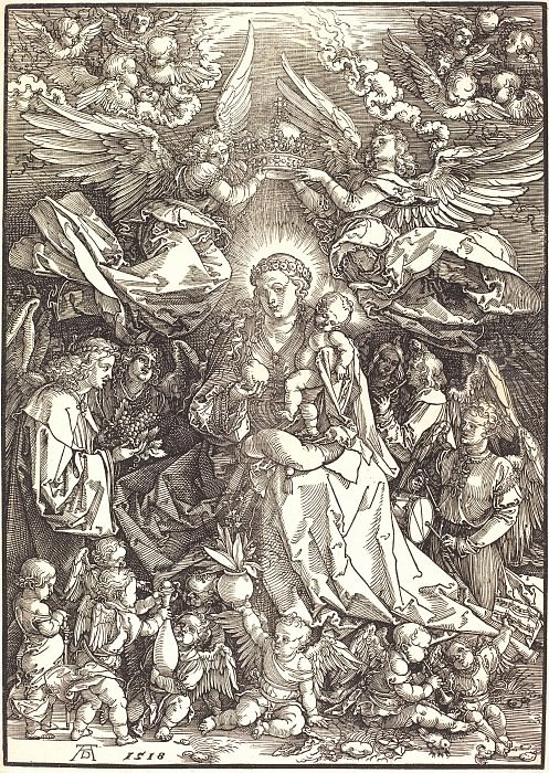 Madonna surrounded by many angels. Durer Engravings