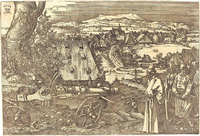 Landscape with a gun. Durer Engravings