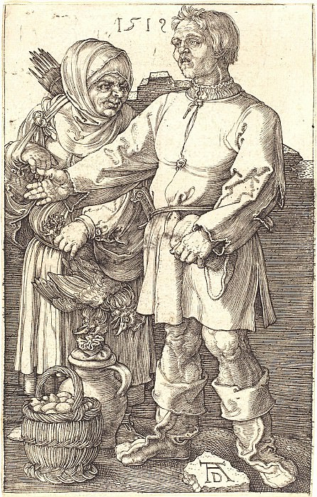 Peasant couple in the market. Durer Engravings