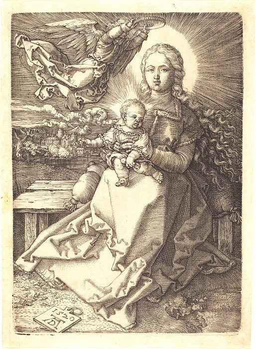 Madonna, angel koronuemaya. Durer Engravings