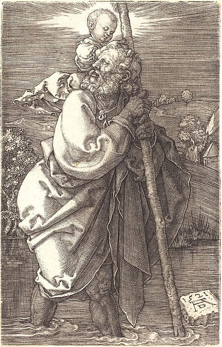Saint Christopher, looking to the left. Durer Engravings
