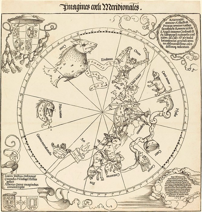 The Southern Celestial Hemisphere (The Southern Hemisphere of the Celestial Globe). Durer Engravings