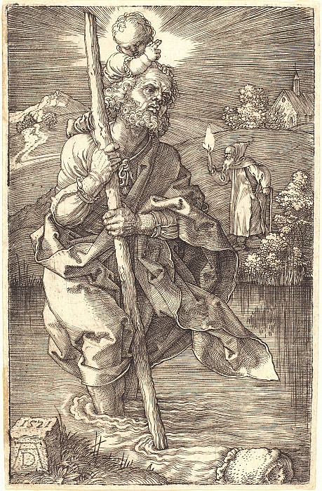 Saint Christopher, looking to the right. Durer Engravings